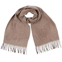 Теплый мужской шарф из натуральной шерсти бежевого цвета от Fabretti, арт. GY16001-1