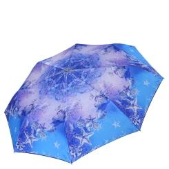 Женский зонт автомат с красивым принтом голубого цвета от Fabretti, арт. L-18110-15