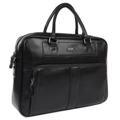 Большая мужская деловая сумка из натуральной кожи черного цвета от Fabretti, арт. LRB137A-black