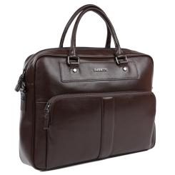 Большая мужская деловая сумка из натуральной кожи коричневого цвета от Fabretti, арт. LRB137A-brown