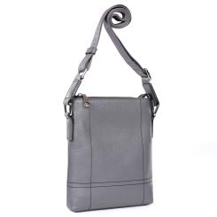 Мужская кожаная сумка планшет, модель с длинным плечевым ремнем от Fabretti, арт. LRB299-gray
