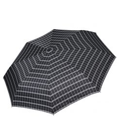 Мужской зонт автомат с куполом из эпонжа черного цвета с узором в серую клетку от Fabretti, арт. MCH-3