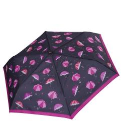 Женский зонт классического черного цвета с принтом в виде ярких зонтиков от Fabretti, арт. MX-18100-12