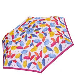Женский зонт с дизайном из разноцветных зонтиков на белом фоне от Fabretti, арт. MX-18100-8