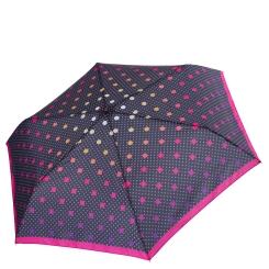 Женский зонт с принтом из мелкого однотонного горошка в сочетании с крупным разноцветным на черном фоне  от Fabretti, арт. MX-18100-9