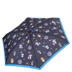 Женский зонт с милым принтом из зверушек на темно - синем куполе от Fabretti, арт. MX-18101-11