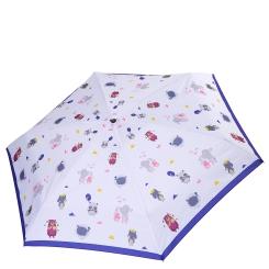 Женский зонт светло - голубого оттенка с милым принтом из зверушек от Fabretti, арт. MX-18101-12