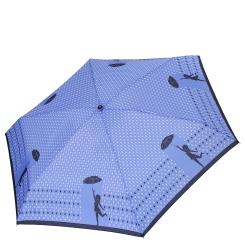 Женский зонт голубого оттенка с дизайном из капелек дождя и монохромной игривой девушки от Fabretti, арт. MX-18101-9