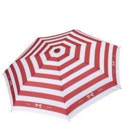 Женский зонт белого цвета с геометрическим рисунком из красных линий от Fabretti, арт. P-18102-5