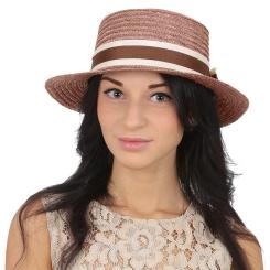 Женская летняя шляпа с полоской, модель коричневого цвета от Fabretti, арт. P1-7 brown