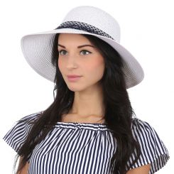 Женская летняя шляпа с широкими полями, модель белого цвета от Fabretti, арт. P3-4 white