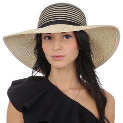 Женская летняя шляпа с широкими полями, модель с темными полосками от Fabretti, арт. P5-3 beige