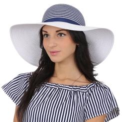 Белая женская плетеная летняя шляпа  с синими полосками от Fabretti, арт. P5-4 white