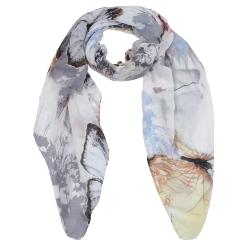 Элегантный женский шарф в пастельных тонах с красивыми бабочками, из 100% вискозы от Fabretti, арт. PPS1194-6