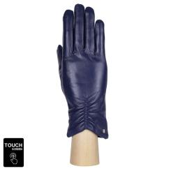 Элегантные женские перчатки из натуральной кожи, модель для сенсорных экранов от Fabretti, арт. S1.7-11 blue