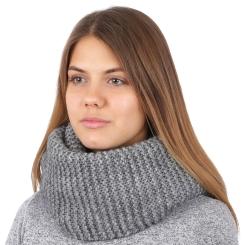 Женский снуд серого цвета из мягкой шерсти  от Fabretti, арт. S2017-6-gray