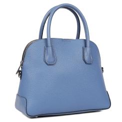 Женская сумка с жестким каркасом из натуральной кожи синего цвета от Fabretti, арт. S2482B-blue