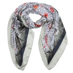 Элегантный женский шарф в серых тонах с красивым принтом, из полиэстера от Fabretti, арт. SR18281-2