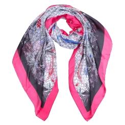 Шикарный женский шарф в серых и розовых оттенках, из полиэстера от Fabretti, арт. SR18281-7