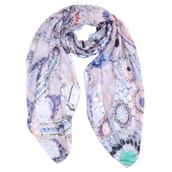 Летний шарф с ярким орнаментом, из полиэстера от Fabretti, арт. SR18285-1