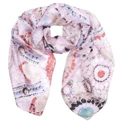 Красивый женский шарф розового цвета, выполнен из полиэстера от Fabretti, арт. SR18285-6