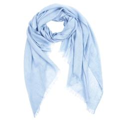 Однотонный женский шарф голубого цвета, выполнен из вискозы от Fabretti, арт. SSF0126-9