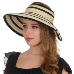 Шляпа-козырек от солнца, модель бежевого цвета с темными полосками от Fabretti, арт. V22-1 beige