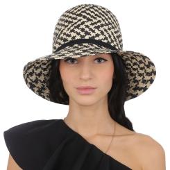 Женская летняя шляпа с ярким и контрастным рисунком от Fabretti, арт. V25-3/2 beige/black