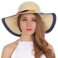 Женская плетеная шляпа с широкими полями, модель бежевого цвета от Fabretti, арт. V26-3 beige