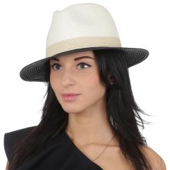 Женская летняя шляпа формы борсалино, модель белого цвета от Fabretti, арт. V27-3/2 beige/black