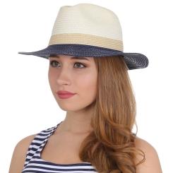 Женская летняя шляпа с полями синего цвета от Fabretti, арт. V27-3/5 beige/blue