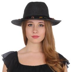 Женская летняя шляпа формы борсалино, модель черного цвета от Fabretti, арт. V29-2 black