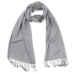 Легкий мужской шарф серого цвета в мелкую полоску из шелка и вискозы от Fabretti, арт. V690-3