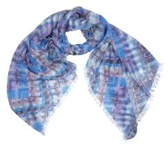 Стильный женский шарф в синих оттенках с орнаментом, из модала от Fabretti, арт. W14-1