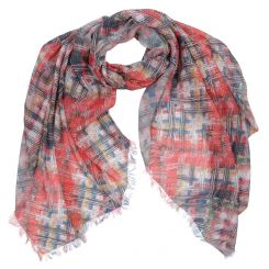 Красивый женский шарф из модала, с модным красно-серым принтом от Fabretti, арт. W14-3