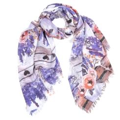 Женский шарф с красивым изображением лаванды, выполнен из 100% вискозы от Fabretti, арт. W8-5