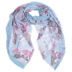 Элегантный голубой женский шарф с нежным принтом, из 100% вискозы от Fabretti, арт. XD5-4