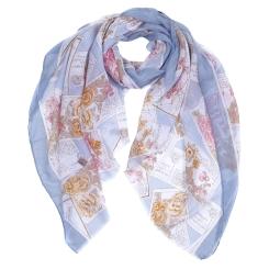 Голубой женский шарф из 100% вискозы с красивым цветочным принтом от Fabretti, арт. XD5-5