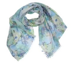 Летний женский шарф в синих и зеленых тонах с цветочным принтом, из модала от Fabretti, арт. XW3-1