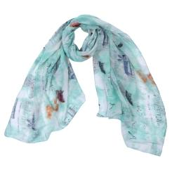 Женский шарф мятного оттенка с красивым принтом, из 100% вискозы от Fabretti, арт. YS0425-4
