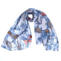 Модный женский шарф синего цвета с оригинальным принтом, из 100% вискозы от Fabretti, арт. YS0425-6