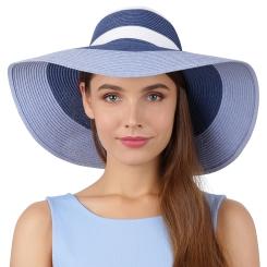 Летняя женская соломенная шляпа сине-белого цвета, с широкими полями от Fabretti, арт. B2-5/4 blue/white