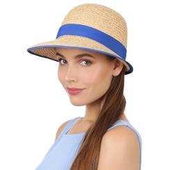 Стильная женская шляпа бежевого цвета с синей лентой от Fabretti, арт. B3-1/5 blue