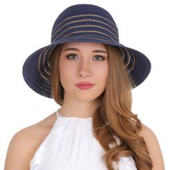 Элегантная синяя летняя шляпа с золотистыми линиями от Fabretti, арт. G27-5/17 BLUE/GOLD