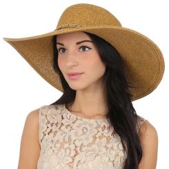 Женская летняя шляпа бежевого цвета, модель для пляжа от Fabretti, арт. G3-1 BEIGE