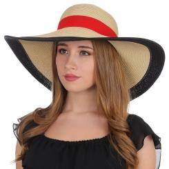 Роскошная женская шляпа бежевого цвета с цветной отделкой от Fabretti, арт. G39-3 BEIGE