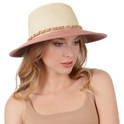 Уникальная женская летняя шляпа бежевого цвета с розовой отделкой от Fabretti, арт. G40-3/16 beige/rose