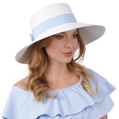 Стильная женская шляпа белого цвета с голубой лентой от Fabretti, арт. G48-4/5 white/l.blue