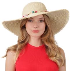 Роскошная женская летняя шляпа бежевого цвета с широкими полями от Fabretti, арт. G56-1 beige