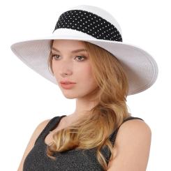 Уникальная женская шляпа белого цвета, украшенная лентой в горох от Fabretti, арт. G57-4/2 white/black